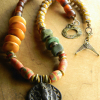 Vintage African beaded necklace by Gloria Ewing.