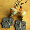 Artisan beaded drop earrings by Gloria Ewing.
