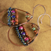 Rustic mood bead teardrop hoop earrings by Gloria Ewing.