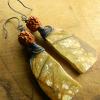 Wire wrapped rhyolite jasper earrings from Gloria Ewing.