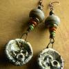 Crusty and rustic artisan drop earrings by Gloria Ewing.