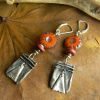 Aged pewter charm earrings by Gloria Ewing.
