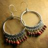 Mexican style beaded hoop earrings by Gloria Ewing.