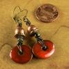 Small beaded earrings with Greek ceramic drops.