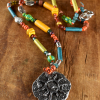 Colorful Mykonos beaded teen necklace by Gloria Ewing.