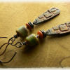 Artisan pewter, copper and lampwork earrings by Gloria Ewing.