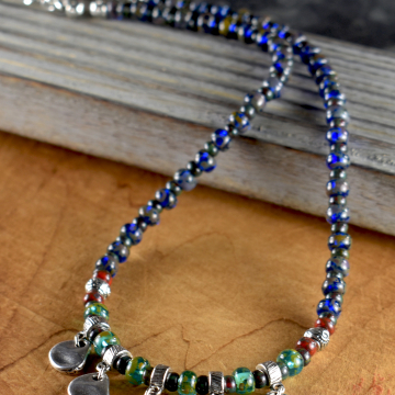 Denim blue beaded tribal style teen necklace by Gloria Ewing.
