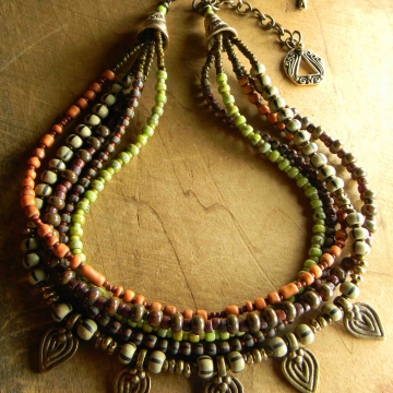 Blend of old and new in a beaded statement necklace by Gloria Ewing.