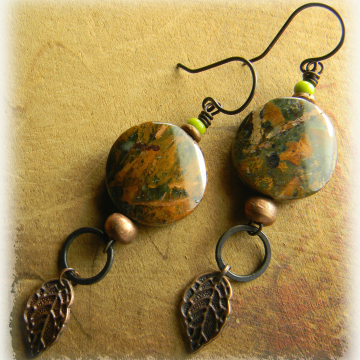 Green opal and copper earrings by Gloria Ewing.