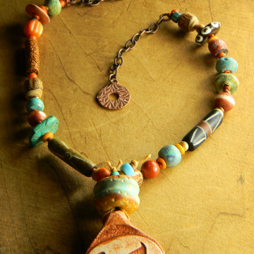 Tribal style beaded necklace by Gloria Ewing.