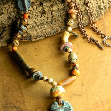 Tribal style knotted necklace from Gloria Ewing.