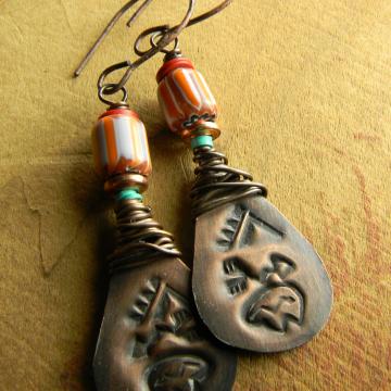 Southwest earrings with a bear motif by Gloria Ewing.