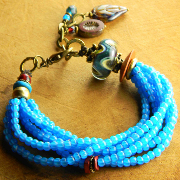 Ethnic beaded bracelet by Gloria Ewing.