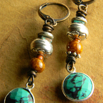 Colors of the desert in beaded earrings from Gloria Ewing.