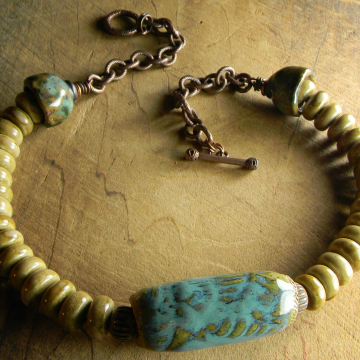 Rustic copper and ceramic beaded choker by Gloria Ewing.