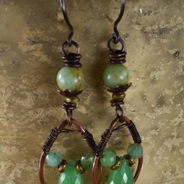 Wire wrapped copper with chrysoprase and opal by Gloria Ewing.