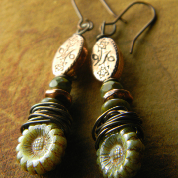 Rustic wire wrapped flower earrings by Gloria Ewing.