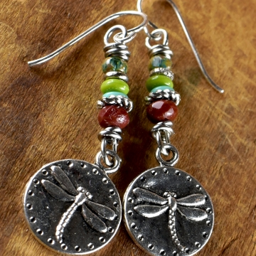 Colorful beaded dragonfly earrings from Gloria Ewing.