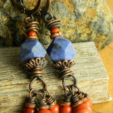 Denim blue stones with red jasper dangles by Gloria Ewing.
