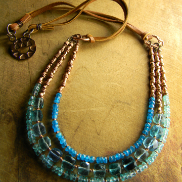 Fluorite and apatite boho necklace by Gloria Ewing.