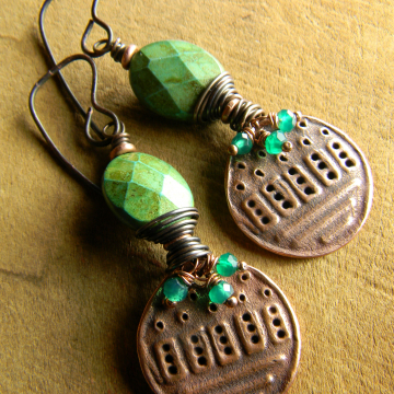 Wire wrapped green stones with copper by Gloria Ewing.