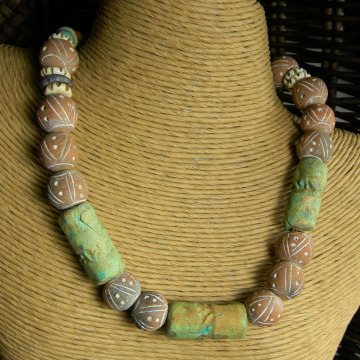 Clay beaded choker in a primitive Mexican style by Gloria Ewing.