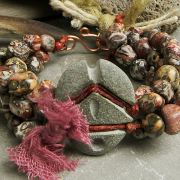 Leopard jasper bracelet with carved stone focal by Gloria Ewing