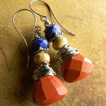 Combined jasper and lapis lazuli earrings by Gloria Ewing.