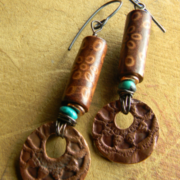 Copper Metal Clay Earrings with Turquoise
