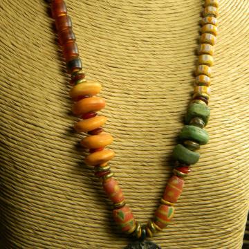 Vintage trade bead necklace by Gloria Ewing.