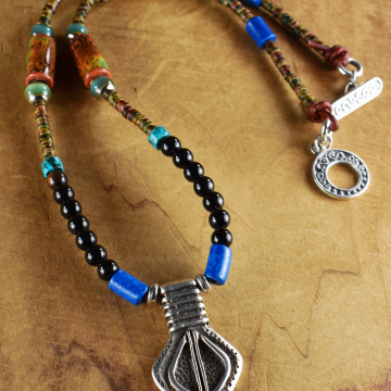 Colorful ethnic style mood bead necklace by Gloria Ewing.