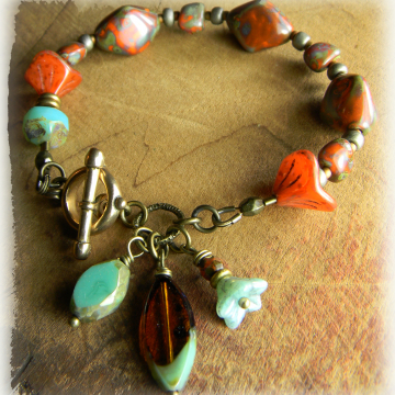 Bohemian Czech glass bracelet in orange and aqua.