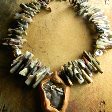 Jasper and Sterling silver beaded necklace by Gloria Ewing.