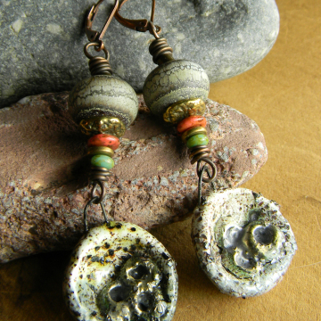 Neutral earrings with a splash of color by Gloria Ewing.