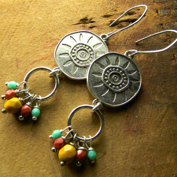 Beaded dangle earrings for summer by Gloria Ewing.