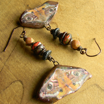 Rustic beaded earrings by Gloria Ewing.