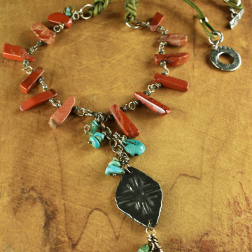 Pewter focal pendant with jasper and turquoise by Gloria Ewing.