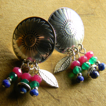 Sterling silver native inspired post earrings by Gloria Ewing.