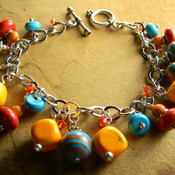 Colorful beaded bracelet with Sterling silver by Gloria Ewing.