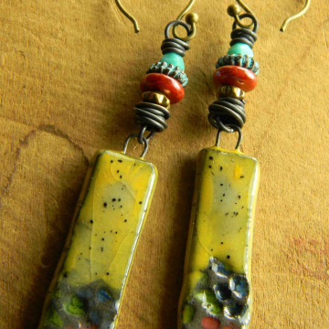 Colorful beaded earrings by Gloria Ewing.