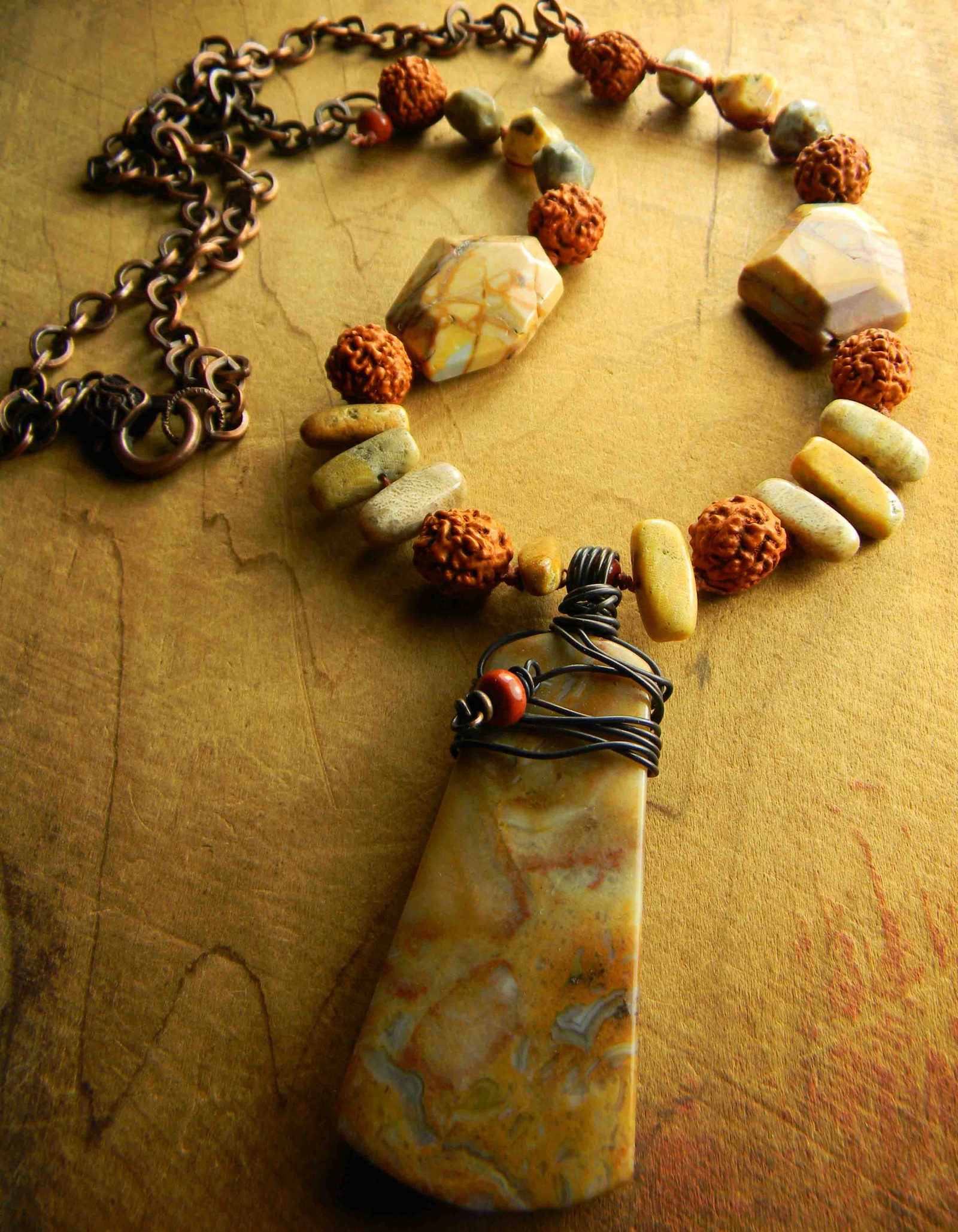 Crazy lace agate pendant necklace chrysalis tribal jewelry crazy lace agate necklace pendant extra long yellow rust brown copper aloadofball Choice Image