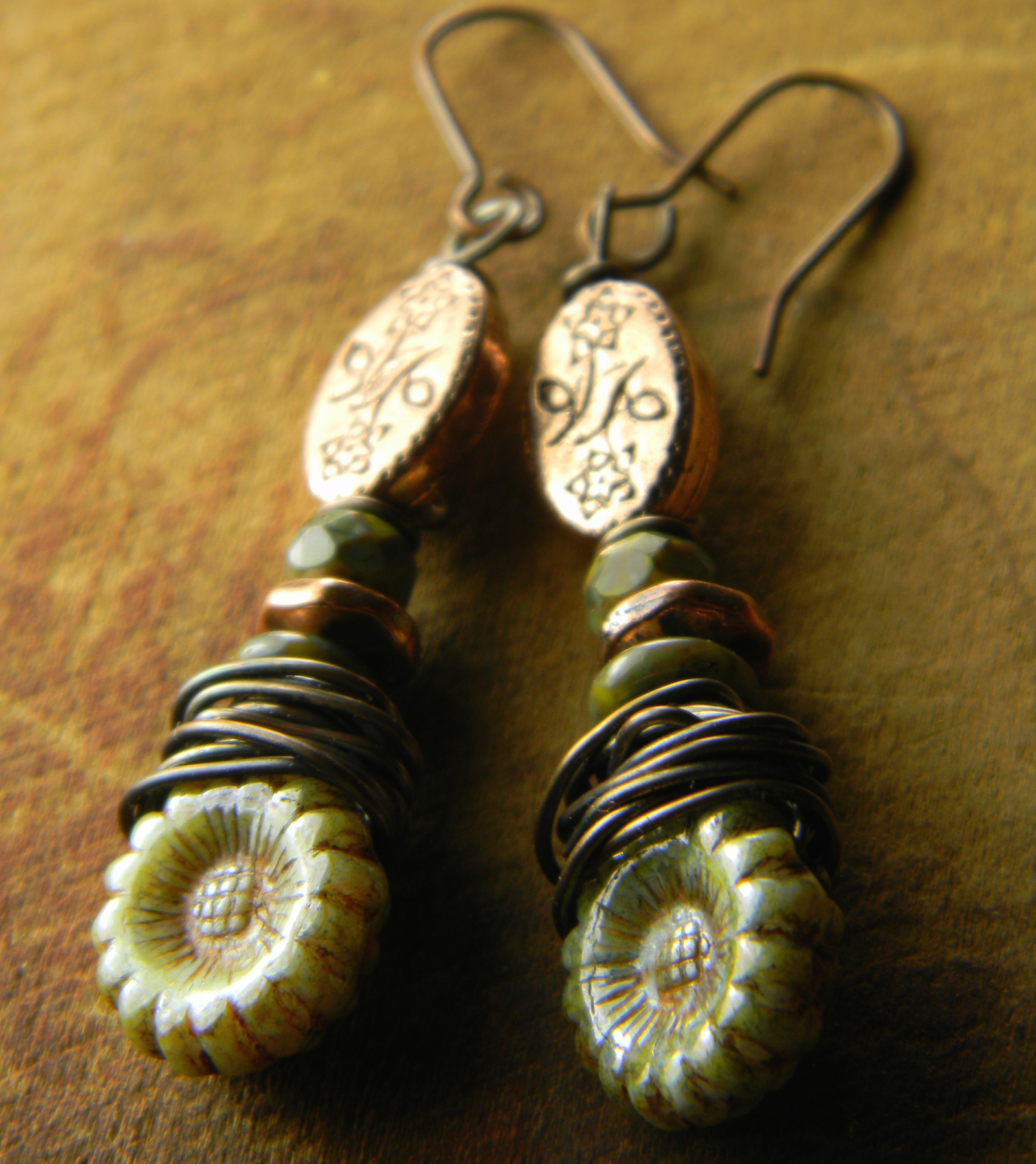 Boho rustic earrings Czech picasso earth colours khaki green green and orange earth colors Czech glass bead earthy primitive