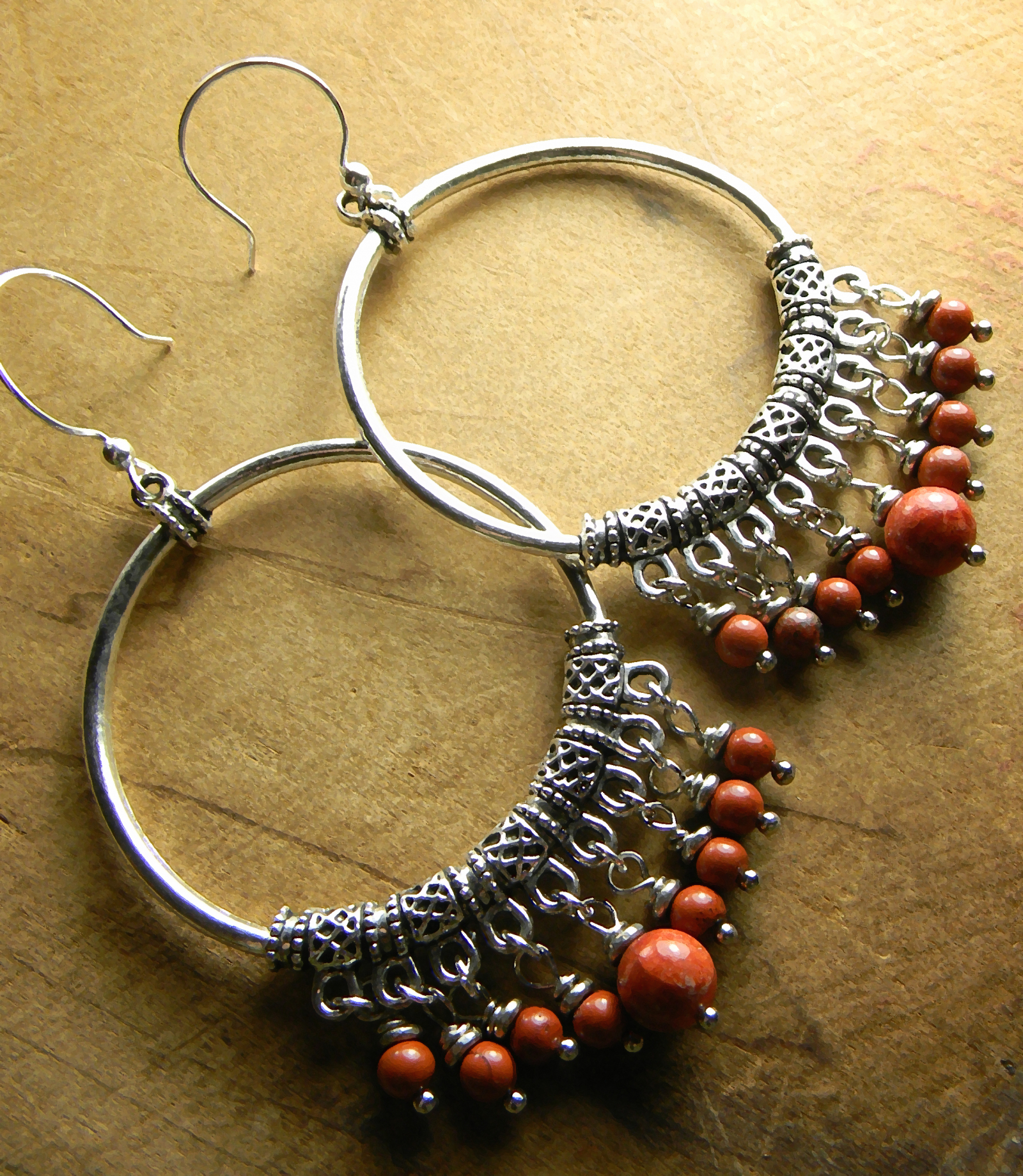 Silver Red Hoops Tejana Collection Beaded Artisan Earrings