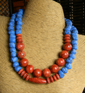 Primitive Red and Blue Choker Necklace