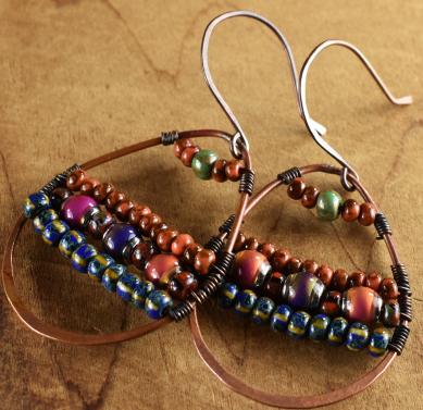 Tribal Mood Bead Hoop Earrings