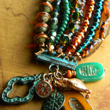 Multi-Strand Bracelet, Ten Strands, Statement Bracelet, Teal, Rust, Brown, Boho Bracelet, Tribal Jewelry