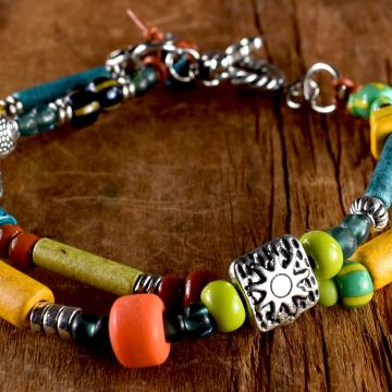 Mykonos Bead Bracelet, Teen Bracelet, Tribal Teen, Two Strand, Colorful Teen Jewelry, Yellow, Red, Blue, Green, Tribal Jewelry