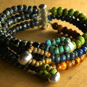 Multi-Strand Bracelet, Tribal Bracelet, Colorful, Yellow, Blue, Green, Boho Bracelet, Tribal Jewelry