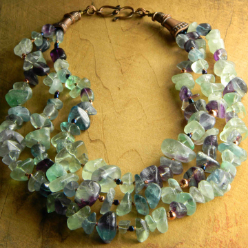 Fluorite Nugget Statement Necklace Chunky Green Purple Copper Bohemian Handmade Beaded Jewelry