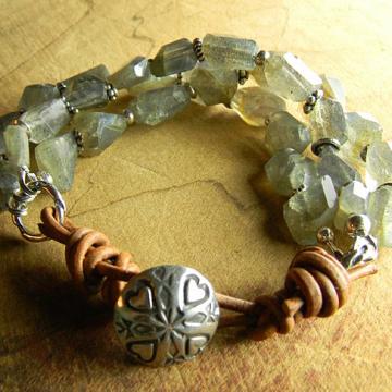 Labradorite Bracelet, Woman's Multi-Strand Bracelet, Southwestern Jewelry, Rustic Bracelet